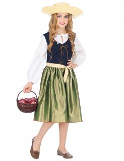 Mittelalter-Kostüm für Mädchen Marktfrau Faschingskostüm grün-schwarz-weiss