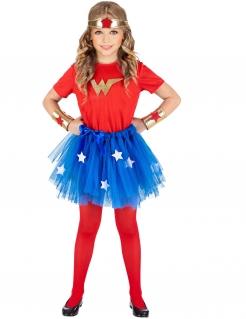 Superheldin-Kostüm für Mädchen Faschingskostüm rot-blau