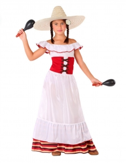 Mexikanisches Kostüm für Mädchen traditionell Faschingskostüm weiss-rot
