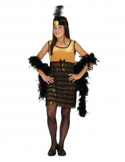 Charleston-Kostüm für Mädchen Faschingskostüm 20er Jahre gold-schwarz