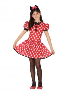 Maus-Kostüm für Mädchen Pünktchen-Kleid rot-weiss