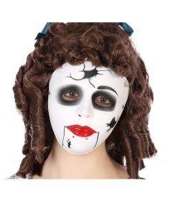 Puppen-Maske schaurige Maske Halloween weiss-schwarz