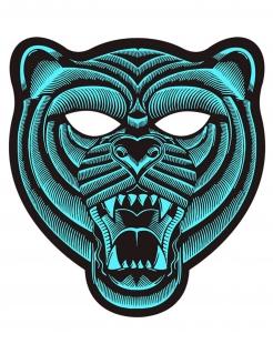 Tiger-LED-Maske musiksensitiv Fasching türkis-schwarz