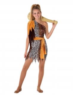 Prähistorisches Kostüm für Jugendliche Mädchenkostüm Fasching braun-orange