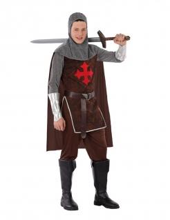 Kreuzritter-Kostüm für Jugendliche Faschingskostüm braun-grau