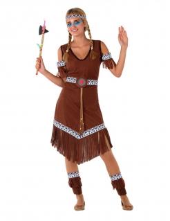 Indianerin-Kostüm für Mädchen Teenie-Kostüm Faschingskostüm braun
