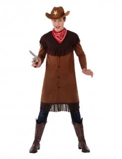 Cowboy-Kostüm für Jugendliche Faschingskostüm braun-rot
