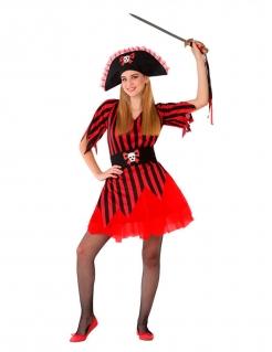 Piraten-Kostüm für Jugendliche Mädchenkostüm Faschingskostüm rot-schwarz