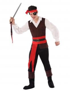 Piraten-Kostüm für Jugendliche Faschingskostüm braun-weiss-rot