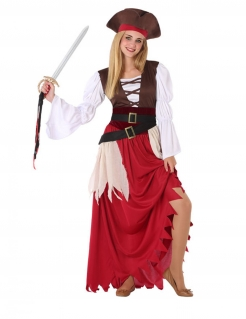 Piraten-Kostüm für Damen Seeräuberin Faschingskostüm braun-rot-weiss