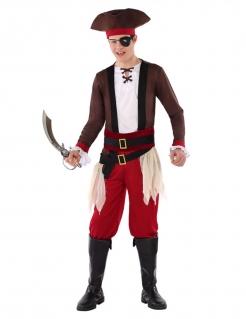 Piraten-Kostüm für Jugendliche Jungenkostüm zum Fasching braun-weiss-rot