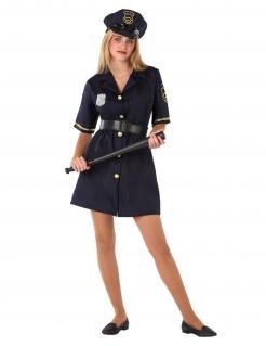 Polizistin-Kostüm für Jugendliche Mädchenkostüm Fasching blau-gold