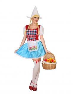 Holländerin-Kostüm witziges Damen-Kostüm blau-rot-weiss