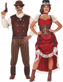 Steampunk-Paarkostüm für Erwachsene Fasching rot-braun