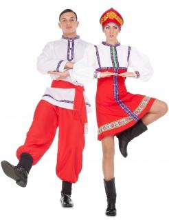 Russische Tänzer Paarkostüm für Erwachsene Faschingskostüm rot-weiss-blau