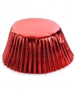 Glänzende Cupcake-Förmchen 50 Stück rot 7 cm