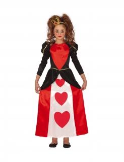Herzkönigin-Kostüm für Mädchen Märchenkostüm Fasching rot-schwarz-weiss