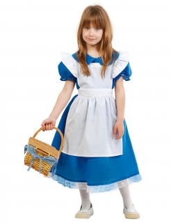 Wunderland-Prinzessin Kostüm für Mädchen Fasching blau-weiss