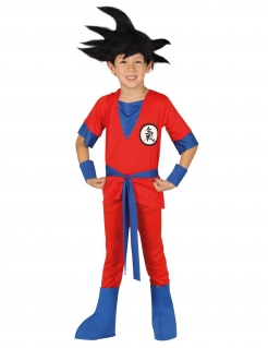 Manga Ninja-Kostüm für Jungen Faschingskostüm rot-blau