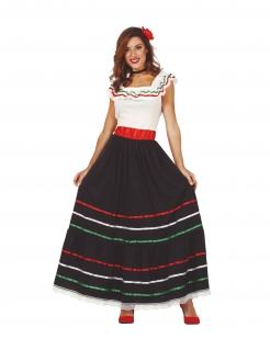 Mexikanisches Kostüm für Damen Faschingskostüm schwarz-weiss-rot