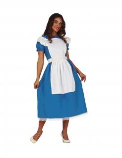 Wunderland-Kostüm für Damen Faschingskostüm blau-weiss