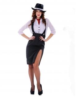 Sexy Gangster-Kostüm für Damen schwarz-weiss-rot