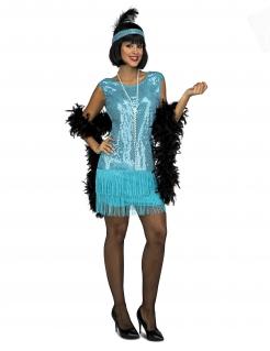 Schickes Charleston-Kostüm für Damen 20er Jahre Faschingskostüm blau
