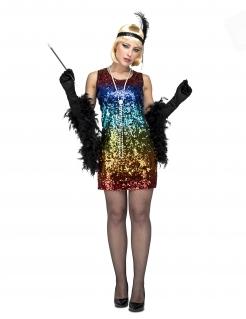 Buntes Charleston-Kostüm für Damen Faschingskostüm Regenbogenfarben