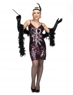 Charleston-Kostüm für Damen mit Stern Faschingskostüm pink-silber-schwarz