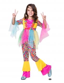 Kunterbuntes Hippie-Kostüm für Mädchen Faschingskostüm bunt