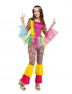 Hippie-Kostüm für Damen mit Tüll Faschingskostüm bunt
