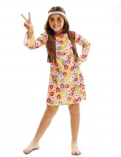 Hippie-Kostüm für Mädchen Flower Power Faschingskostüm bunt