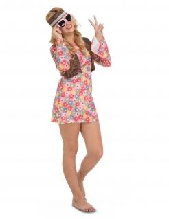 Hippie-Kostüm für Damen Blumenmuster Faschingskostüm bunt