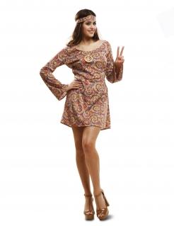 Hippie-Kostüm für Damen psychedelisches Muster Fasching bunt