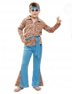 Psychedelisches Hippie-Kostüm für Jungen Faschingskostüm blau-bunt