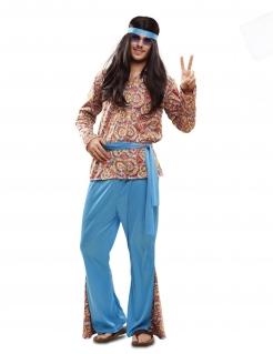 Psychedelisches Hippie-Kostüm für Herren Faschignskostüm blau-bunt