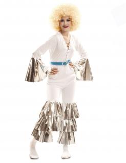 70er Jahre-Kostüm für Damen Disco Kostüm Fasching weiss-silber-blau