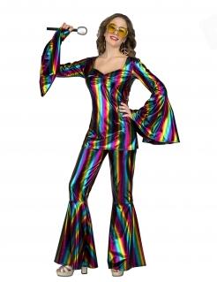 Disco-Kostüm für Damen Regenbogenkostüm Faschingskostüm bunt