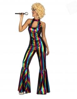 Stylisches Regenbogen-Discokostüm für Damen bunt