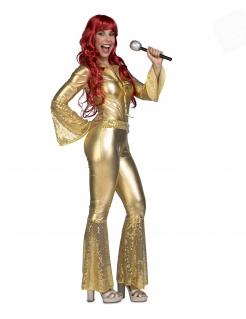 Disco-Kostüm für Damen 70er-Kostüm Faschingskostüm gold