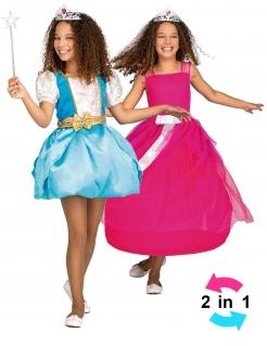 Magisches Prinzessin-Kostüm für Mädchen 3 in 1 Faschingskostüm blau-pink