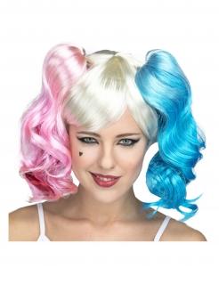 Superschurkin-Perücke für Damen Faschings-Accessoire blau-rosa