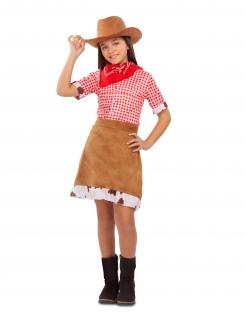Cowgirl-Kostüm für Mädchen Faschingskostüm braun-rot