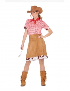 Western-Kostüm für Damen Faschingskostüm braun-rot