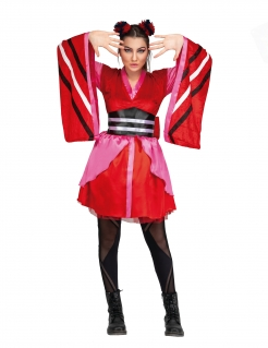 Kimono-Kostüm japanisches Damenkostüm rot