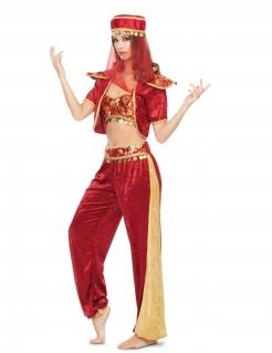 Sexy Bauchtänzerin-Kostüm für Damen Orient rot-gold