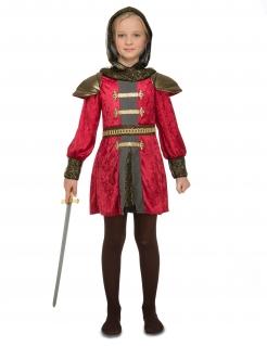Mittelalterliches Ritter-Kostüm für Mädchen Faschingskostüm rot-gold