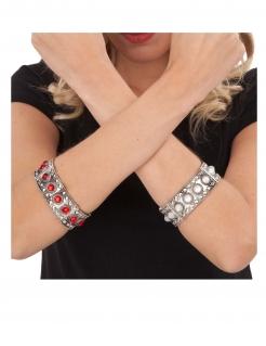 Mittelalterliches Königinnen-Armband Kostüm-Accessoire silberfarben-rot