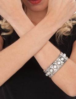 Antike-Armband Römerin-Schmuck silbern-weiß