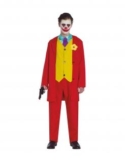Trauriger-Clown-Kostüm für Jugendliche rot-gelb